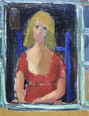 Akos Biro (Hungarian 1911-2002) French Expressionist Oil - Female Red Dress