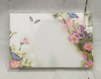 """25 Florist Message Cards - Blank """"Flowers And Butterfl"""" - Blank any message!"""