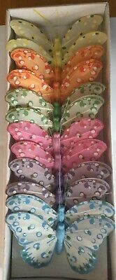 10cms Multi Colours Pastels Feather Butterflies On Wires. Wedding, Floristry.