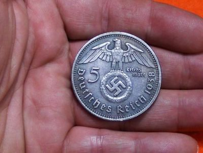 Large 1938 Paul Von Hindenburg German 5 Reichsmark Wwii Collectible Coin
