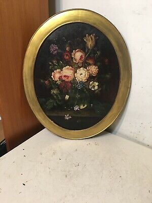 Beautiful Antique Still Life Painting Of Flowers Large Oval Shape