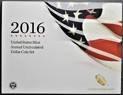 2016 UNITED STATES MINT ANNUAL UNCIRCULATED DOLLAR COIN SET w/SILVER EAGLE A8143