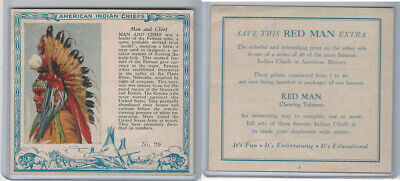 T129 Red Man Chewing Tobacco, American Indian Chiefs, 1952, #39 Man And Chief