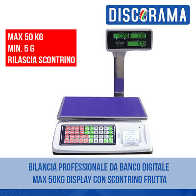 Bilancia Da Banco Professionale Digitale Max 50Kg Display Con Scontrino Frutta
