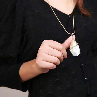 Fashion Ladies Water Drop Shaped Pendant Charm Long Necklace Sweater Chain S