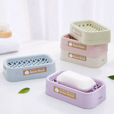 Soap Dish Bathroom Uses Storage Boxes New Plastic Double Layer Container Case BS