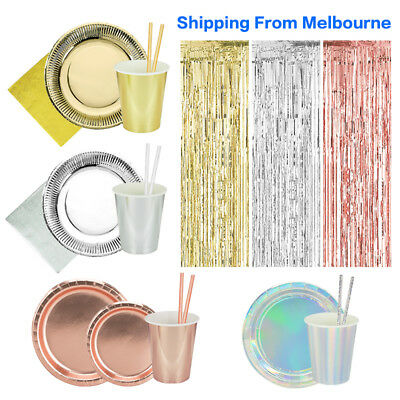Au!!Gold Silver RoseGold Foil Party Tableware PlatesCupsNapkins Birthday Wedding