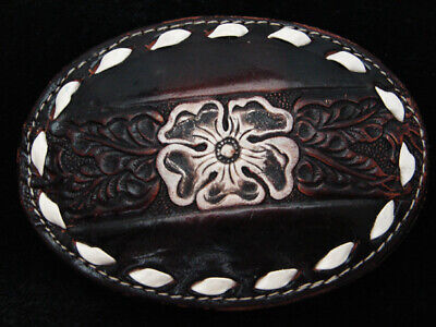 QB15129 *NOS* VINTAGE 1970s *FLORAL ORNAMENTAL* LEATHER WESTERN & COWBOY BUCKLE