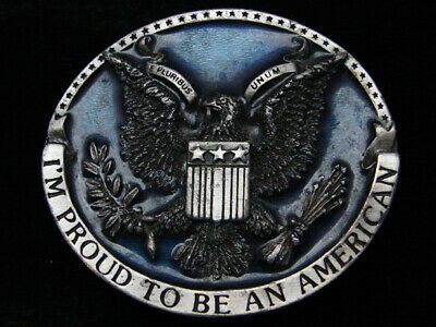 Qd11114 Vintage 1981 **I'm Proud To Be An American** Patriotic Belt Buckle