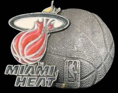 Pi04114 *Nos* Vintage 1994 **Miami Heat** Basketball Sports Pewter Belt Buckle