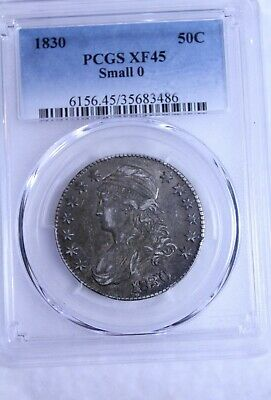 1830 Small 0 Capped Bust Half Dollar : PCGS XF45