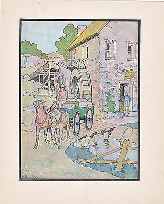 Miller Working Gristmill Milling Antique Print Color Litho 1901