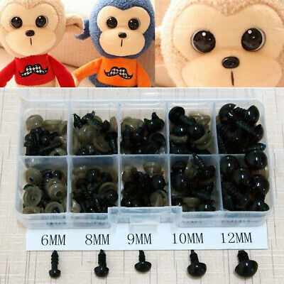 100Pcs 6-12mm Black Plastic Safety Eyes For Teddy Bear Doll Animal Puppet Crafts