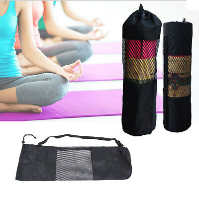 Portable Yoga Pilates Mat Nylon Bag Carrier Mesh Center Adjustable Strap Tote BS