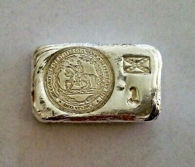 1oz hand poured silver bar 999 confederate rebel made by me national flag one oz