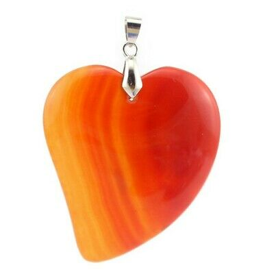 Genuine Handmade Heart Fire Red Agate Gemstone Silver Necklace Pendants 1.75""
