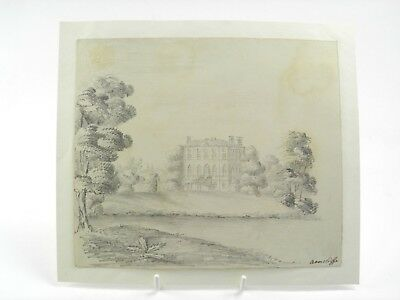 Antique 19th century English School pencil drawing Georgian country house