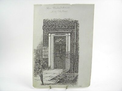 Antique pen & ink drawing by W H Reynolds John Wesleys House No 47 City Road