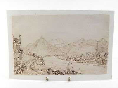 Antique 19th century Continental pen & ink drawing river landscape scene