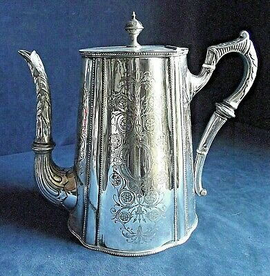 SUPERB Large ~ SILVER Plated ~  Engraved  TEAPOT ~ c1890 by Philip Ashberry