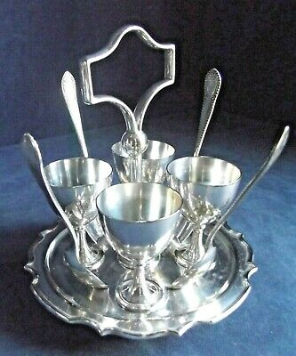 GOOD ~ SILVER Plated ~ 9 Piece ~ EGG Cup Breakfast SET ~ c1910 by James Dixon