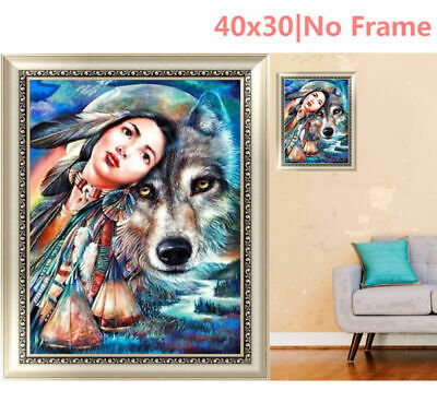 Girl  Wolf 5D Diamond Painting Embroidery Cross Stitch DIY Home Decor Casual