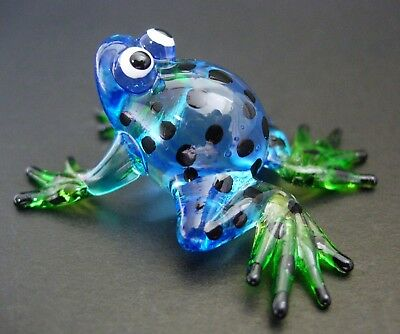 Glass FROG TOAD Blue & Black Spotted Frog Painted Glass Animal Glass Ornament