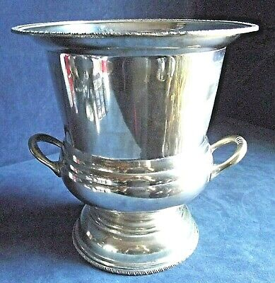 "GOOD Large 10"" ~ SILVER Plated ~ CAMPANA Styled ~ Ice BUCKET ~ c1960"