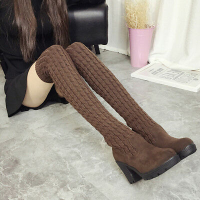 Women Fashion Elastic Slim Autumn &Winter Warm Long Knee High Boots Shoes LG