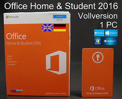 Microsoft Office Home & Student 2016 Vollversion Box 1 PC 32/64-Bit DE/EN/ML NEU