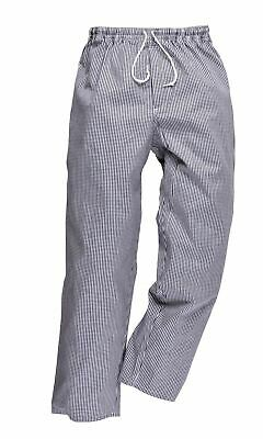 Portwest Bromley Blue/White Chef Trousers Elastic Waist 100% Cotton Food C079