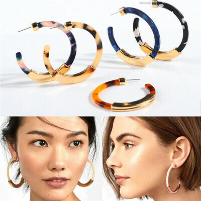 2019 HOT Fashion Bohemia Acrylic Acetate Leopard Circle Hoops Earrings for Women