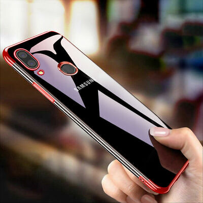 For Samsung Galaxy M20 M10 Shockproof Slim Soft Plated TPU Clear Back Case Cover