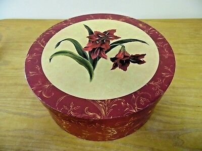 """Hat Box Floral 12"""" Diameter Vintage? Collectible Victorian Style BurgundyYellow"""