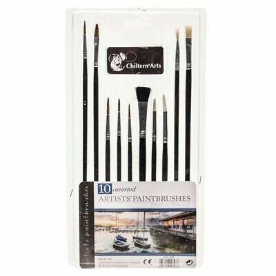 10pc Small Fine Art Paint Brush Artist Craft Set Painting Oil Acrylic Hobbies