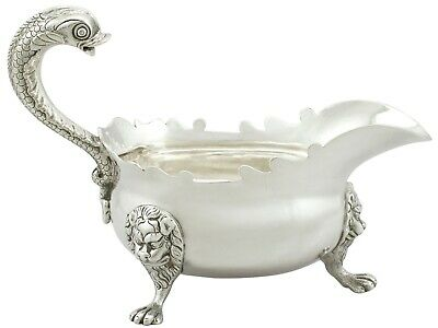 Antique George II Newcastle Sterling Silver Sauceboat Isaac Cookson 1744