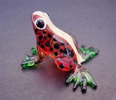 Glass FROG TOAD Spotted Brown Painted Glass Animal Ornament Glass Figure Gift
