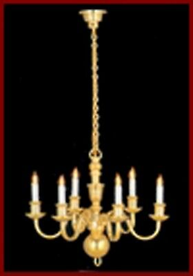 1:12 Scale 6 Arm Up Candle Brass Chandelier Tumdee Dolls House Light 8004