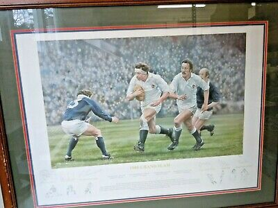 Signed Framed Rugby Print Depicting England Five Nations Grand Slam Glory 1980