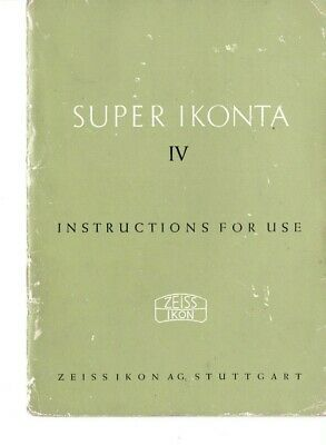 Genuine Zeiss Ikon Super Ikonta Iv Instructions For Use Manual