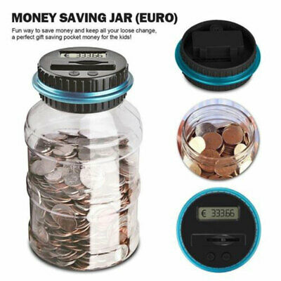 Electronic Digital LCD Coin Counter Counting Jar Money Saving Piggy Bank Box