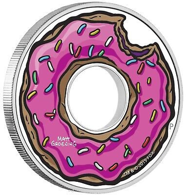 TUVALU $1 dollar 2019 - The Simpsons DONUT 1 Oz silver coin