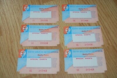 NYWF NEW YORK WORLDS FAIR 1964-1965 Special Events Daily Pass Lot (6) tickets