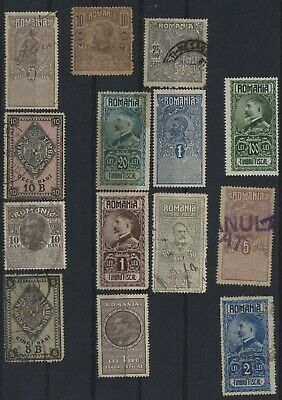 Romania ,nice Classic Unchecked Lot Of 14 Revenues Different Used Values.#c528