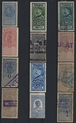 Romania ,nice Classic Unchecked Lot Of 12 Revenues Different Used Values.#c529