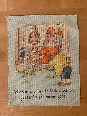 Betsey Clark Completed Needlepoint Cross Stitch - With Memories to Look Back On