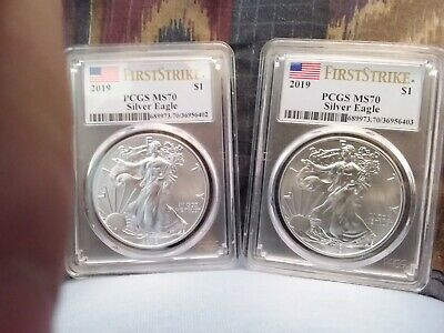 Lot of 2 2019 1oz Silver Eagle PCGS MS70 Firdt Strike Flag CONSECUTIVE