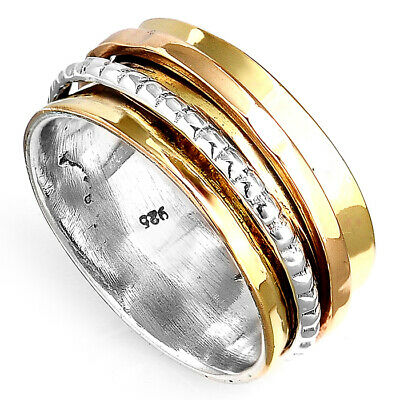 Solid 925 Sterling Silver Spinner Ring Golden Spinning Wide Band Men's Women's