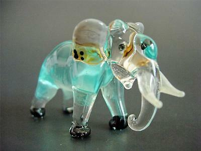 Cute Glass ELEPHANT, Tinted Turquoise Glass Animal, Painted Blown Glass Ornament