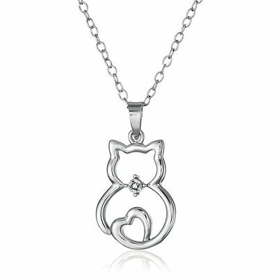 V.G Womens Stylish Silver Cat Rhinestone Pendant Necklace Chain Party Jewellery